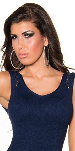 KouCla Damen Kleid knielang ohne Ärmel mit Reißverschluss Etuikleid V-Ausschnitt (marine) - 3