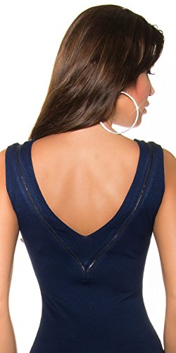 KouCla Damen Kleid knielang ohne Ärmel mit Reißverschluss Etuikleid V-Ausschnitt (marine) - 4