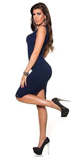 KouCla Damen Kleid knielang ohne Ärmel mit Reißverschluss Etuikleid V-Ausschnitt (marine) - 5