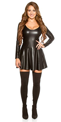 Koucla Damen Kleid Mini Wet-Look Leder-Optik Langarm Minikleid Cocktailkleid Partykleid Rundhals 34,36,38 Schwarz - 6