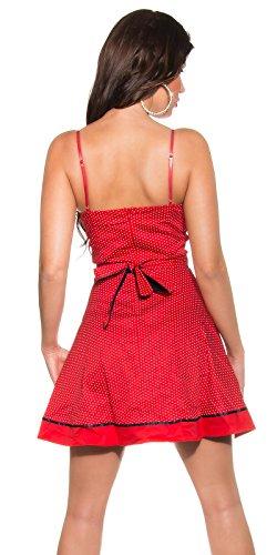 KouCla Damen Kleid Polkadots Rockabilly schwarz rot Punkte (36, rot) - 2