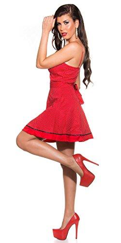 KouCla Damen Kleid Polkadots Rockabilly schwarz rot Punkte (36, rot) - 3