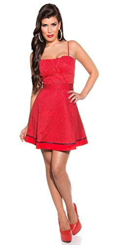 KouCla Damen Kleid Polkadots Rockabilly schwarz rot Punkte (36, rot) - 4