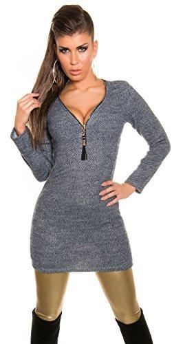 Koucla Damen Long Pullover Minikleid Kleid mit Reißverschluss in Two-Tone-Optik, blau - 2