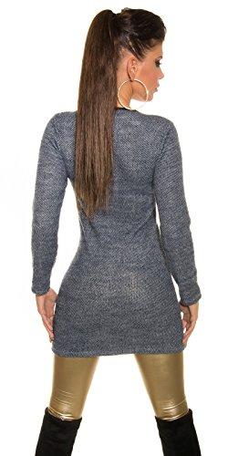 Koucla Damen Long Pullover Minikleid Kleid mit Reißverschluss in Two-Tone-Optik, blau - 4