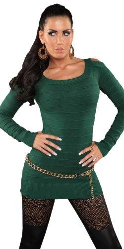 Koucla Damen Pullover mit freien Schultern & dezenter Streifen-Optik Einheitsgröße (32-38), grün - 1