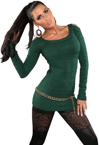 Koucla Damen Pullover mit freien Schultern & dezenter Streifen-Optik Einheitsgröße (32-38), grün - 2