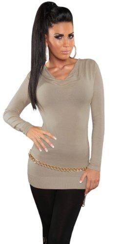 Koucla Damen Pullover mit Wasserfall-Optik Einheitsgröße (32-38), beige - 1