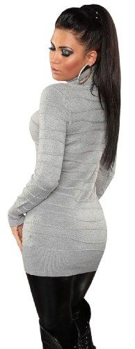 Koucla Damen Strickkleid im Streifen-Design mit Rollkragen Einheitsgröße (34-40), grau - 3