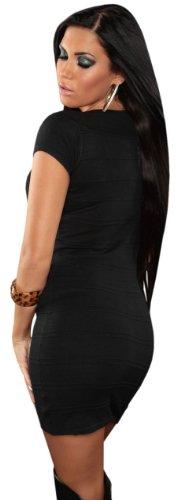 Koucla Damen Strickkleid kurz�rmelig mit Rundhalsausschnitt Einheitsgr��e (32-38), schwarz - 3
