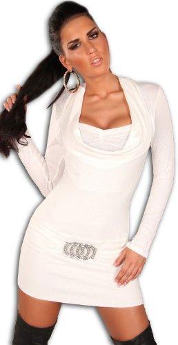Koucla Damen Strickkleid & Pullover mit Ausschnitt in Wasserfalloptik, weiß Größe 34 36 38 - 2