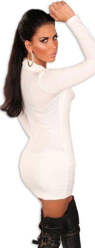 Koucla Damen Strickkleid & Pullover mit Ausschnitt in Wasserfalloptik, weiß Größe 34 36 38 - 3