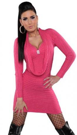 Koucla Damen Strickkleid & Pullover mit Wasserfall-Optik Einheitsgröße (32-38), pink -