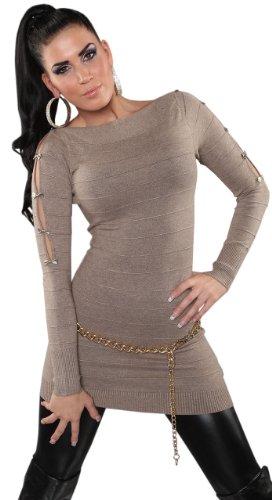 Koucla Damen Strickkleid & Pullover mit Reißverschluß & Schleifen verziert Einheitsgröße (32-38), cappuccino -
