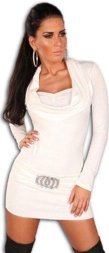 Koucla Damen Strickkleid & Pullover mit Ausschnitt in Wasserfalloptik, weiß Größe 34 36 38 - 1