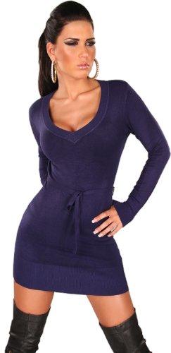 Koucla Damen Strickkleid & Pullover langärmelig mit V-Ausschnitt & Gürtelband Einheitsgröße (34-40), blau - 1