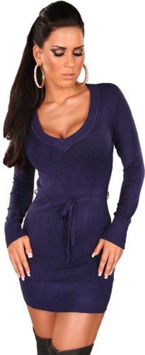 Koucla Damen Strickkleid & Pullover langärmelig mit V-Ausschnitt & Gürtelband Einheitsgröße (34-40), blau - 2
