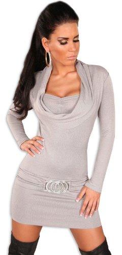 Koucla Damen Strickkleid & Pullover mit Ausschnitt in Wasserfalloptik, grau Größe 36 38 40 - 1