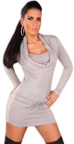 Koucla Damen Strickkleid & Pullover mit Ausschnitt in Wasserfalloptik, grau Größe 36 38 40 - 2