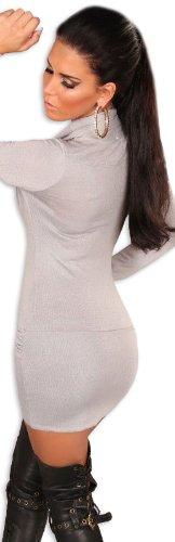 Koucla Damen Strickkleid & Pullover mit Ausschnitt in Wasserfalloptik, grau Größe 36 38 40 - 3