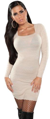 Koucla Damen Strickkleid & Pullover mit Bändern Einheitsgröße (32-38), beige - 1