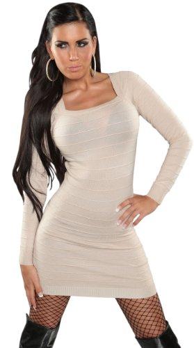 Koucla Damen Strickkleid & Pullover mit Bändern Einheitsgröße (32-38), beige - 2