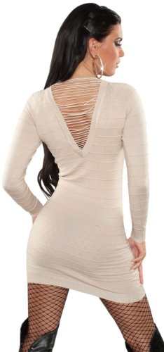 Koucla Damen Strickkleid & Pullover mit Bändern Einheitsgröße (32-38), beige - 3