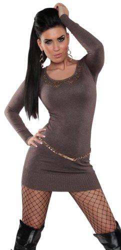 Koucla Damen Strickkleid & Pullover mit Pailletten & Netz im Rücken Einheitsgröße (34-40), cappuccino - 1