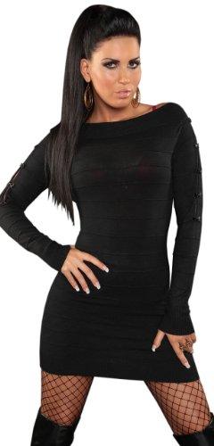 Koucla Damen Strickkleid & Pullover mit Reißverschluß & Schleifen verziert Einheitsgröße (32-38), schwarz - 1