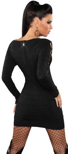 Koucla Damen Strickkleid & Pullover mit Reißverschluß & Schleifen verziert Einheitsgröße (32-38), schwarz - 3