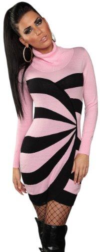 Koucla Damen Strickkleid & Pullover mit Rollkragen & Streifen-Design Einheitsgröße (34-40), rosa - 1