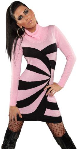 Koucla Damen Strickkleid & Pullover mit Rollkragen & Streifen-Design Einheitsgröße (34-40), rosa - 2