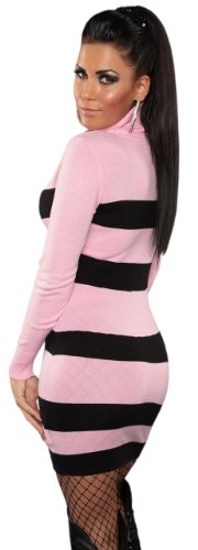 Koucla Damen Strickkleid & Pullover mit Rollkragen & Streifen-Design Einheitsgröße (34-40), rosa - 3