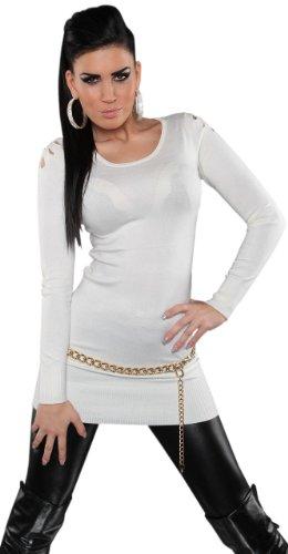 Koucla Damen Strickkleid & Pullover mit Rundhalsausschnitt Einheitsgröße (36-40), weiß - 1