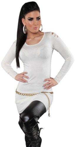Koucla Damen Strickkleid & Pullover mit Rundhalsausschnitt Einheitsgröße (36-40), weiß - 2