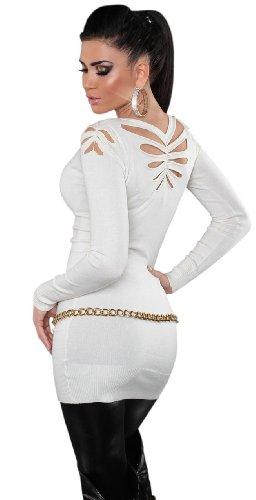 Koucla Damen Strickkleid & Pullover mit Rundhalsausschnitt Einheitsgröße (36-40), weiß - 3