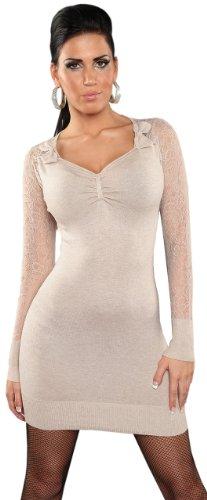 Koucla Damen Strickkleid & Pullover mit V-Ausschnitt & Spitze Einheitsgröße (34-40), beige - 1