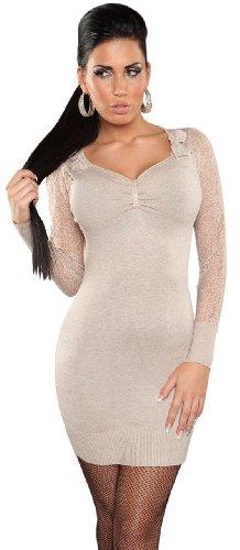 Koucla Damen Strickkleid & Pullover mit V-Ausschnitt & Spitze Einheitsgröße (34-40), beige - 2