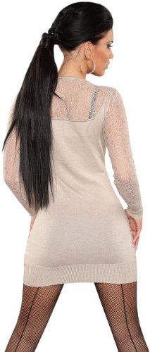 Koucla Damen Strickkleid & Pullover mit V-Ausschnitt & Spitze Einheitsgröße (34-40), beige - 3
