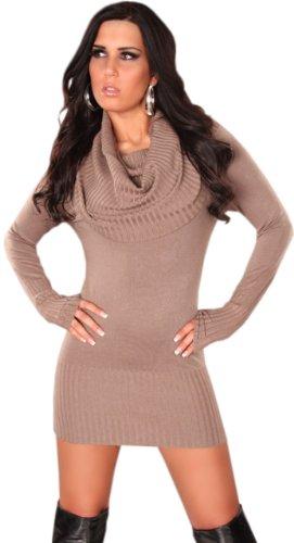 Koucla Damen Strickkleid & Pullover mit weitem Rollkragen Einheitsgröße (32-40), beige - 1