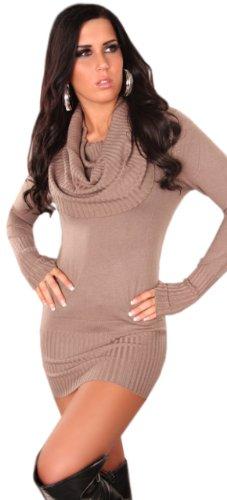 Koucla Damen Strickkleid & Pullover mit weitem Rollkragen Einheitsgröße (32-40), beige - 2