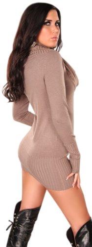 Koucla Damen Strickkleid & Pullover mit weitem Rollkragen Einheitsgröße (32-40), beige - 3