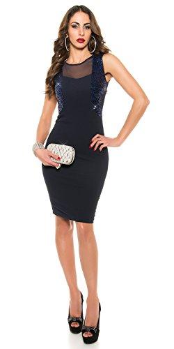 KouCla Etui Kleid mit Pailletten Transparent Size XS S 34 36 Navy - 6