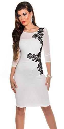 KouCla Etuikleid Mit Netz und Stickerei Size S 36 White Stretch Abendkleid Partykleid - 1