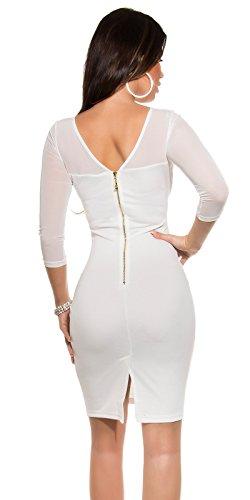 KouCla Etuikleid Mit Netz und Stickerei Size S 36 White Stretch Abendkleid Partykleid - 2