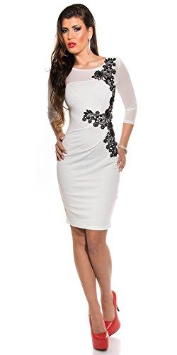 KouCla Etuikleid Mit Netz und Stickerei Size S 36 White Stretch Abendkleid Partykleid - 3