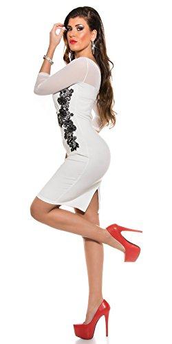 KouCla Etuikleid Mit Netz und Stickerei Size S 36 White Stretch Abendkleid Partykleid - 4