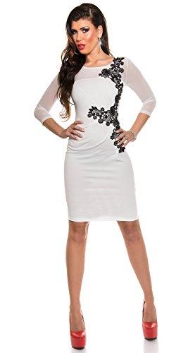 KouCla Etuikleid Mit Netz und Stickerei Size S 36 White Stretch Abendkleid Partykleid - 5