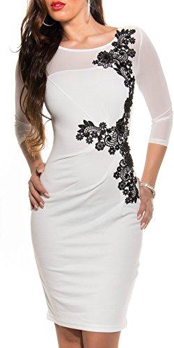KouCla Etuikleid Mit Netz und Stickerei Size S 36 White Stretch Abendkleid Partykleid - 6