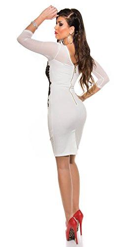 KouCla Etuikleid Mit Netz und Stickerei Size S 36 White Stretch Abendkleid Partykleid - 7